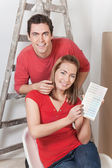 Happy Couple with Color Guide — Stock Photo