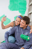 Casal tirar auto-retratos — Foto Stock
