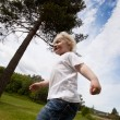 Boy Running Outside — Stock Photo