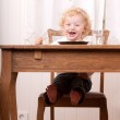 Excited Child at Meal Table — Stock Photo #6562201