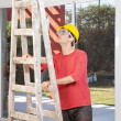 Engineer with ladder — Stock Photo