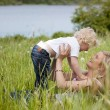 Stock Photo: Mother and Child in Meadow