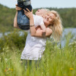 Smiling mother playing with child — Stock Photo