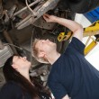 Mechanic with Female Customer — Stock Photo