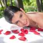 Portrait of woman on massage table — Stock Photo #6585920