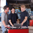 Mechanics Using Laptop — Stock Photo