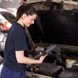 Woman Mechanic with Diagnostics Tool — Stock Photo
