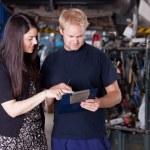 Mechanic with Upset Customer — Stock Photo #6586872