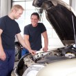 Stock Photo: Two Mechanics Working on a Car