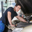 Mechanic Portrait Working on Car — Stock Photo