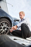 Flat Tire Business Man — Stock Photo