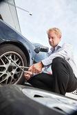 Flat Tire Business Man — Stock Photo