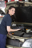 Happy Woman Mechanic with Diagnostic Tool — Stock Photo