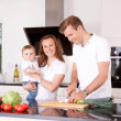 Family at Home in Kitchen — Stockfoto