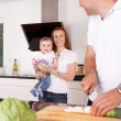 Happy Family at Home - Stockfoto