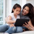 Royalty-Free Stock Photo: Happy Mother and Daughter with Digital Tablet