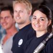Mechanic Team with Woman — Stock Photo