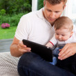 Digital Tablet Father Son — Stock Photo