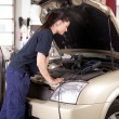 Woman Tuning Car — Stock Photo
