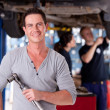 Mechanic Man with Air Wrench — Stock Photo