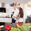 Playful Family in Kitchen — Stock Photo