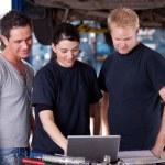 Mechanics with Laptop — Stock Photo
