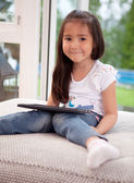 Cute Young Child with Digital Tablet — Stock Photo