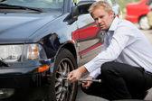 Business Man Tire Change — Stock Photo