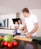 Family Together in Kitchen — Stock Photo