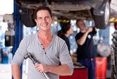 Mechanic Man with Air Wrench — Foto de Stock