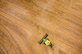 Overhead View of Harvester in Field — Stock Photo