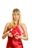 Closeup of an attractive woman with a gifts — Photo