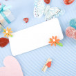 Greeting card for the newborn — Stock Photo