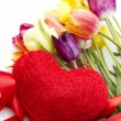 Tulips and red heart — Stock Photo #5702538