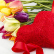 Tulips and red heart — Stock Photo #5702714