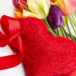 Tulips and red heart — Stock Photo #5738895