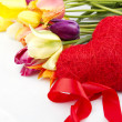 Tulips and red heart — Stock Photo #5738933