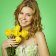 Happy Young Woman Hugging Flower — Stock Photo
