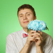 Man Holding Flowers — Foto Stock