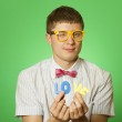 """Close-up lover man holding the letter """"love"""" — Stock Photo"""