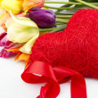 Tulips and red heart — Stock Photo #5792936