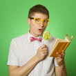 Young man bookworm reading — Stock Photo