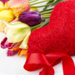 Stock Photo: Tulips and red heart