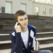 Постер, плакат: Modern student talking on a mobile phone