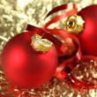 Stock Photo: Background of red x Christmas Balls