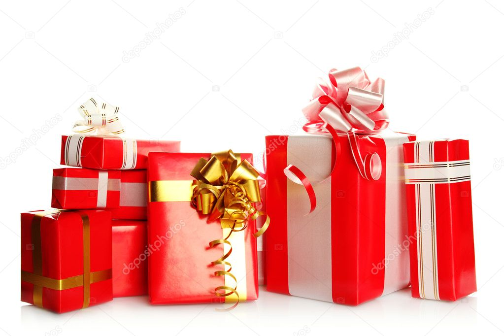A lot of presents different values in the red packages with colorful bows. Isolated white background — Stock Photo #5866986