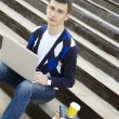 Young student working on a laptop. — Foto Stock