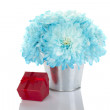Blue chrysanthemums in a pail — Stock Photo
