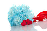Blue chrysanthemums with two red hearts — Stock Photo
