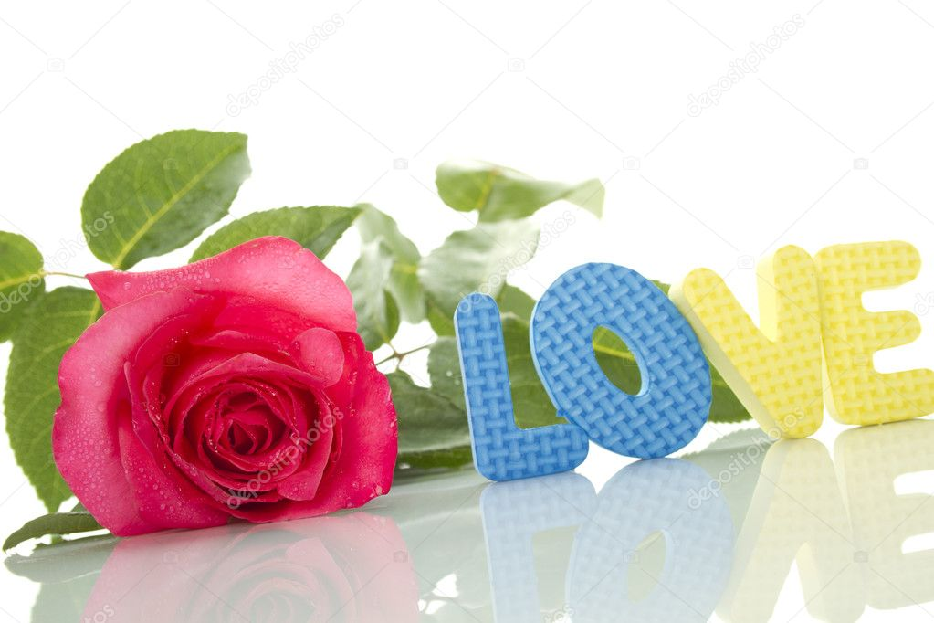 Beautiful red rose and a number of the text of the letters love. Isolated on white background — Stock Photo #5987263